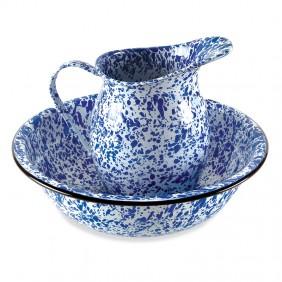 Blue Enamelware Pitcher & Bowl