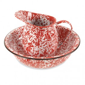 Red Enamelware Pitcher & Bowl