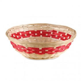 Small Red Stripe Bamboo Basket