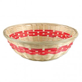 Medium Red Stripe Bamboo Basket