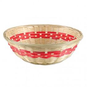 Medium Red Stripe Bamboo Basket