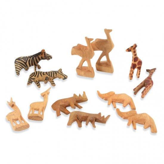 Carved wooden animals from kenya montessori services