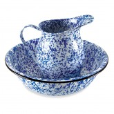 Blue Enamelware Pitcher & Bowl