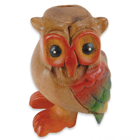 New Hand Carved Wooden Hand Painted Hooting Owl Whistle From Thailand