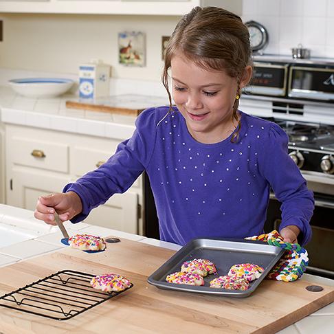 Girl baking cookies
