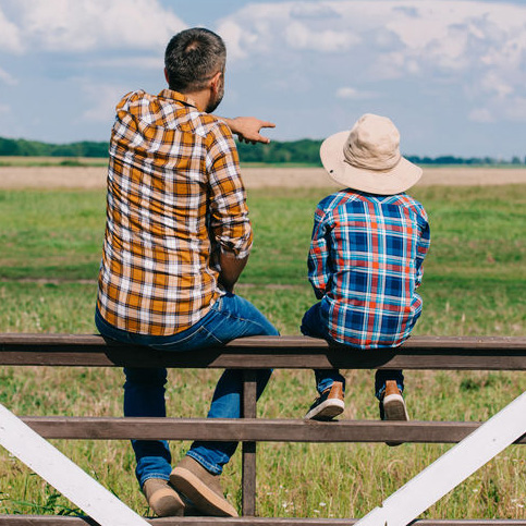 Father and Son Sitting on a Fence