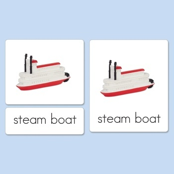 Water Vehicles Three-Part Cards