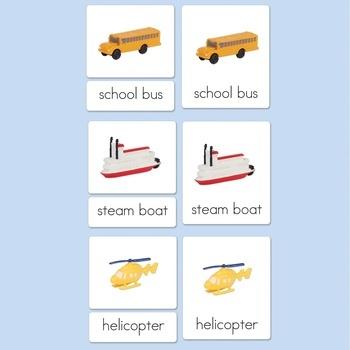 All 3 Land, Water & Air Vehicle Three-Part Card Sets